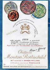PAUILLAC 1EGCC ETIQUETTE CHATEAU MOUTON ROTHSCHILD 1978 DECOREE 75 CL §02/01/17§