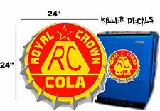 "24""  RC ROYAL CROWN COLA BOTTLE CAP DECAL COOLERS SODA POP MACHINE SIGN STYLE 3"