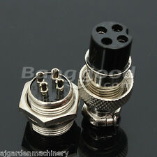 GX16-4 4-Pin 16mm Aviation Pug Male and Female Panel Metal Connector. UK SELLER