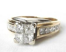 14K Yellow Gold 1.20 Ct Princess Quad Invisible Diamond Engagement Ring~Size 6