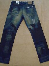PRPS BARRACUDA Straight Smeared Paint Dark Blue Men Jeans 38 x 34 Orig.$300+SALE