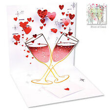 3D Pop Up Love Celebration card by Up With Paper - CHAMPAGNE ROMANCE RED - #662