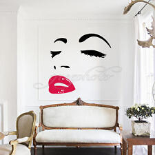 Women's Face Eyes Sexy Lip Removable Wall Sticker Art Home Bedroom Decor DIY