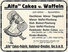 """""""Alfa"""" Cakes-Fabrik Radebeul-Dresden BISKUITS Historische Reklame von 1913"""