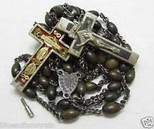 † SCARCE ANTIQUE NUN'S MULTI SAINTS JUSTIN RELIC THECA BOVINE ROSARY 29 27/32 †