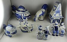 7 Pcs Gzhel Folk Art Pottery Russian Figurines: Fish Bowls, Rooster, House Box++