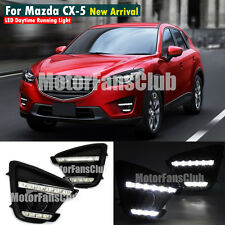 LED Daytime Running Light Fog Lamp DRL For Mazda CX-5 2012-2016 Black Housing