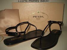 $390 NEW PRADA US 6 EUR 36 Black Patent Leather Thong Strap Sandals Shoes Italy