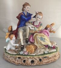 Large German DRESDEN Porcelain Statue Figurine Cupid Angel Couple RICHARD KLEMM