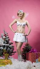 Women's White Christmas Snowflake Fancy Dress Costume Lingerie Bra & Skirt