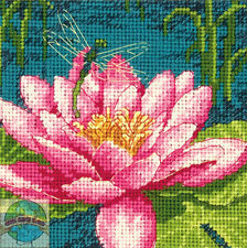Needlepoint Mini Kit ~ Dimensions Dragonfly and Pink Water Lily Flower #71-07240