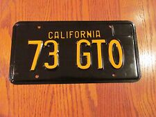 "1973 California PONTIAC GTO License Plate (1) ""73 GTO"" B/Y"