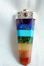 Seven 7 CHAKRA Gemstone Crystal Point PENDANT Necklace Healing Reiki Jewelry