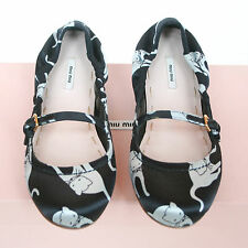 MIU MIU black satin Duchesse Cat print shoes SS10 kitty ballet flats 36/6 NEW