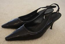 Women's Prada Black Leather Sling Back Heels Pumps Shoes  Sz. 36 / 6