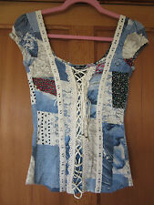 Jane Norman fitted cami corset patchwork top size small