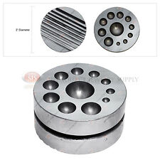 Round Dapping Block Double Sided Jewelers Steel Forming Tool Hobby Jewelry Work
