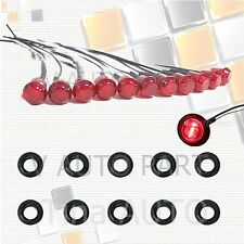 "10X Mini 12V Red 3/4"" Round Side 3 LED Marker Trailer Bus Car Truck Bullet Light"