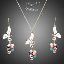 18K Gold Plated SWAROVSKI ELEMENT Crystal Butterfly Earrings & Necklace Set