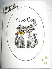 Birthday Card Completed Cross Stitch Love Cats