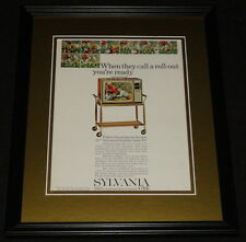 1965 Sylvania Portable Color TV Framed 11x14 ORIGINAL Vintage Advertisement