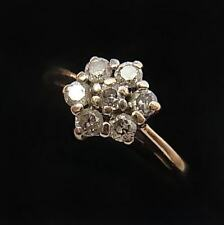 VINTAGE 9CT GOLD & 0.20 CARAT DIAMOND CLUSTER RING