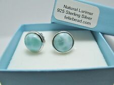 100% Natural Dominican 10mm Larimar  925 Sterling Silver Stud Earrings