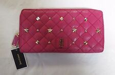 JUICY COUTURE CONTINENTAL ZIP AROUND LEATHER WALLET holds Phones Pink $128