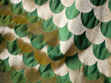 Silk Brocade Fabric in Green Yellow and Gold in Scallop Pattern