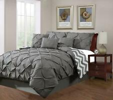 7 Piece Plush Modern Pinch Pleated Grey Comforter Set for King Size