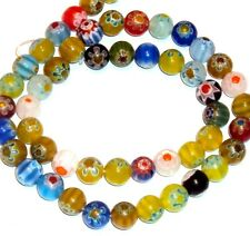 G860f Assorted Color Mixed 8mm Round Millefiori Flower Glass Beads 15""