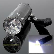 Portable Mini Aluminum 9 LED Bright Camping Hiking Flashlight Pocket Torch Light