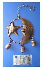 Pendente in metallo stella luna 3 campanelle, artigianato indiano