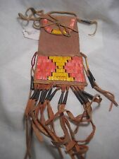 PLAINS QUILLED MEDICINE BAG, NATIVE AMERICAN INDIAN TOBACCO POUCH, #PORT-774