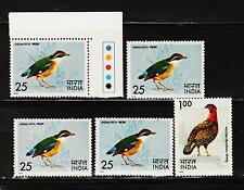INDIA MINT NH 5 STAMPS ON BIRDS 25PX4 1RSX1