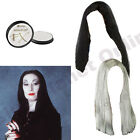 LADIES LONG STRAIGHT WIG BLACK GREY & WHITE PAINT MORTICIA HALLOWEEN FANCY DRESS