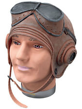 1940's WW2 RAF Fighter Pilot Biggles Latex Helmet Fancy Dress Accessory New
