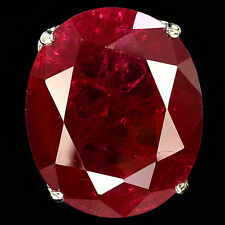 57.1 CT BLOOD RED RUBY OVAL FACET SILVER 925 COCKTAIL RING SIZE 6.5