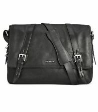 Cole Haan Mens Pebbled Leather Messenger Bag, Black