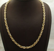"20"" 6mm Diamond Cut Interlocked Double Rolo Chain Necklace Real 14K Yellow Gold"