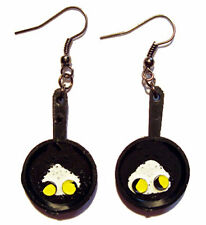 Funky Vintage FRYING PAN w-FRIED EGGS EARRINGS Country Cook Chef Costume Jewelry