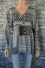 New Women's Elegant Black & White Print Patten Gypsy Boho Top Blouse UK Size 16