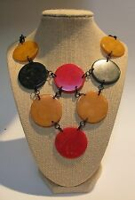 VINTAGE MultiColor Authentic BAKELITE BIB NECKLACE Plastic Celluloid Link-CHAIN
