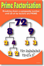 Prime Factorization - Factor Numbers Math POSTER