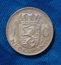 1955 Holland Netherlands Nederlanden 1 One Ein Gulden Guilder silver coin AU
