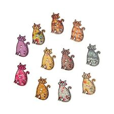 """Lot of 10 DECORATED CATS 2-hole 1 1/4"""" Wooden Buttons 30mm x 19mm (NSOE) Crafts"""