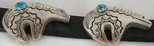 HUGE JERRY ROAN sterling silver Navajo fine stamping, Turquoise Bear concho belt