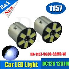 2x BAY15D 1157 Car Tail Stop Brake Light Super Bright 6 SMD LED Bulb DC12V White