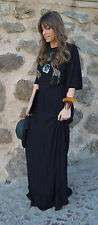 NWT ZARA Embroidered Beaded Animal Long Floaty Dress Maxi Size M Ref.7521/022