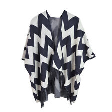 Premium Large Chevron Zig Zag Winter Fringed Poncho Cape Cardigan Wrap Top